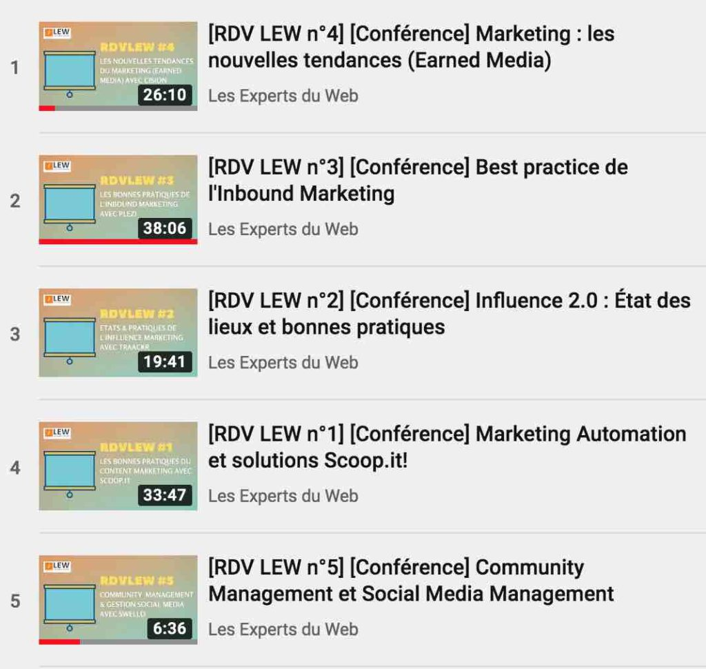 Playlist conférences social data marketing d'influence RDV LEW
